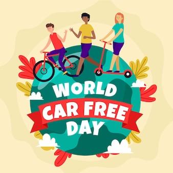Día mundial sin automóviles con personas y tierra