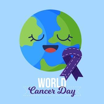 Día mundial del cáncer en diseño plano