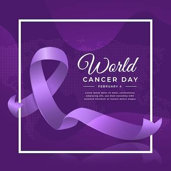 Día mundial del cáncer realista en cinta de febrero.