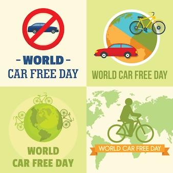 Día mundial de coche libre caminando.