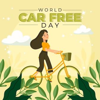 Día mundial sin coches dibujado a mano