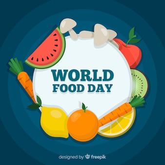 Día mundial de la comida celebrado con frutas y verduras.