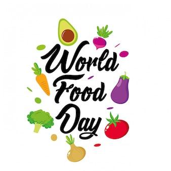 Día mundial de la comida con dibujos animados de vegetales