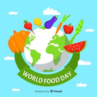 Día mundial de la comida de diseño plano con planeta