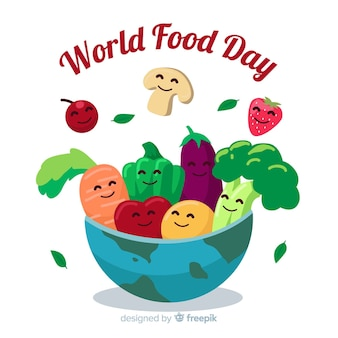 Día mundial de la comida en diseño plano