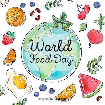 Día mundial de la comida con rodajas de verduras