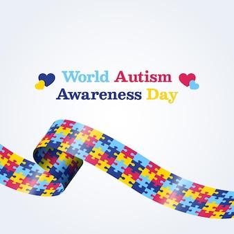 Día mundial de la concienciación sobre el autismo en plano