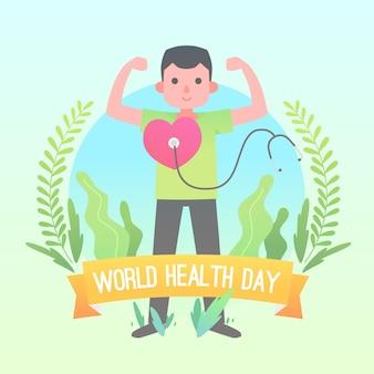Día mundial del corazón plano