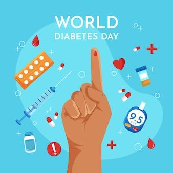 Día mundial de la diabetes de diseño plano con dedo