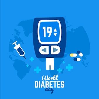 Dia mundial de la diabetes en diseño plano