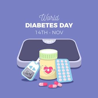 Dia mundial de la diabetes plana