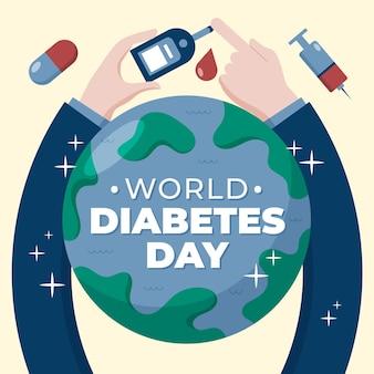 Día mundial de la diabetes con pruebas de dedos