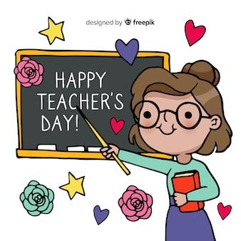 Día mundial de los docentes con pizarra