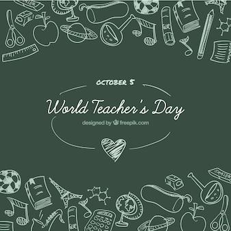 Día mundial de los docentes sobre un fondo de la pizarra verde