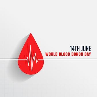 Día mundial del donante de sangre con gota de sangre y latidos del corazón.