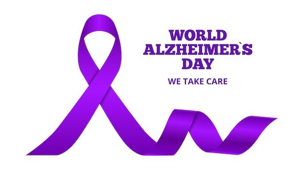 Día mundial de la enfermedad de alzheimer. demencia, cinta morada