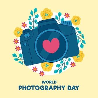 Día mundial de la fotografía con cámara digital.