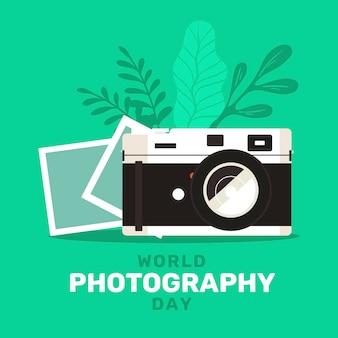 Día mundial de la fotografía con cámara y fotos.
