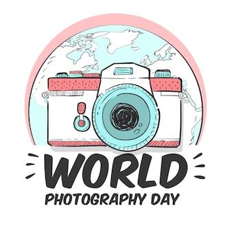 Día mundial de la fotografía con cámara y tierra