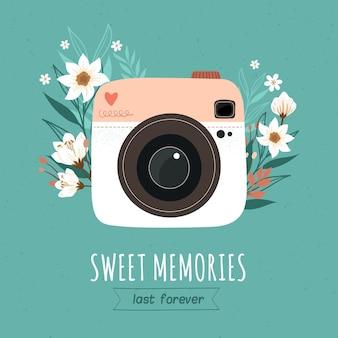 Día mundial de la fotografía con cámara vintage