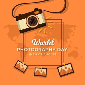 Día mundial de la fotografía con cámara.