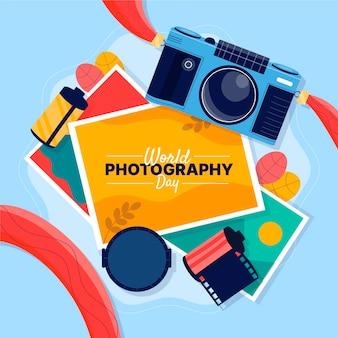 Día mundial de la fotografía con cine y cámara.