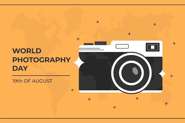 Día mundial de la fotografía de diseño plano