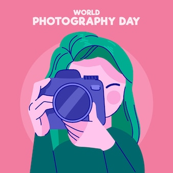 Día mundial de la fotografía con fotógrafa
