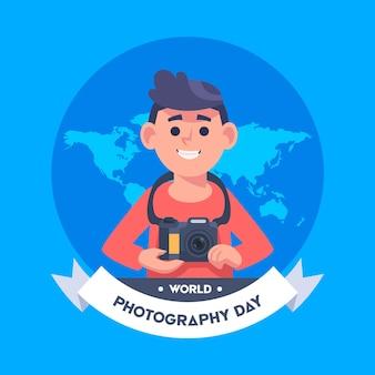 Día mundial de la fotografía con el fotógrafo masculino.