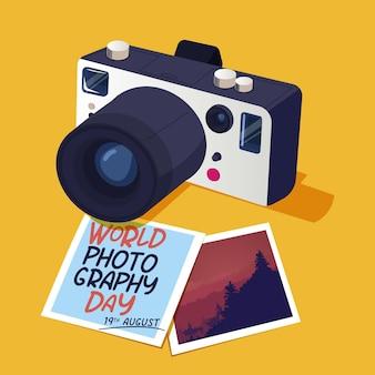 Día mundial de la fotografía con fotos y cámara.