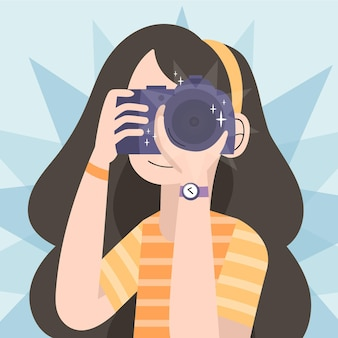 Día mundial de la fotografía con mujer y cámara.