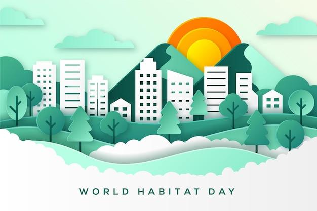 Día mundial del hábitat en concepto de estilo de papel