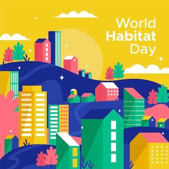 Día mundial del hábitat en diseño plano.