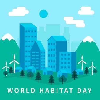 Día mundial del hábitat en diseño plano. vector gratuito