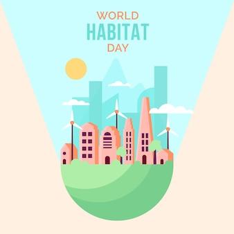 Día mundial del hábitat del diseño plano