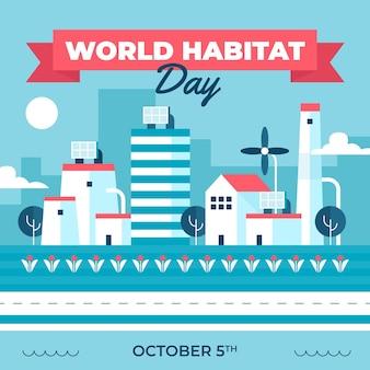 Día mundial del hábitat plano ilustrado.