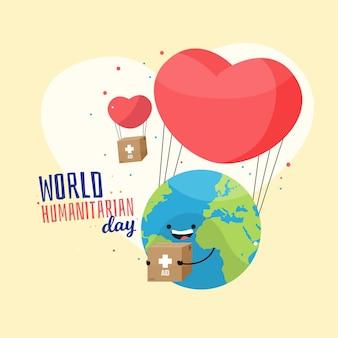Día mundial humanitario con corazón y planeta