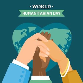 Día mundial humanitario en diseño plano