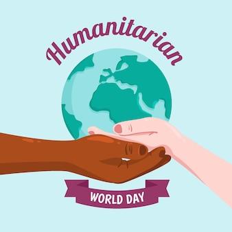 Día mundial humanitario con manos sosteniendo planeta