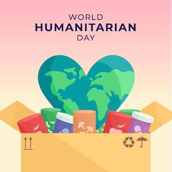 Día mundial humanitario con planeta en forma de corazón