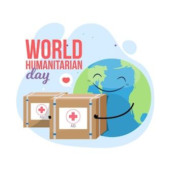 Día mundial humanitario con planeta y paquetes