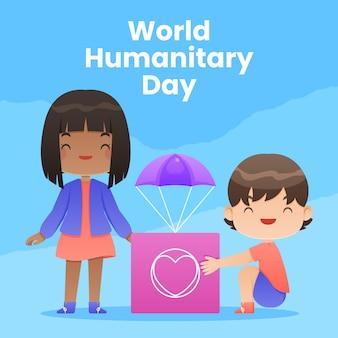 Día mundial humanitario plano