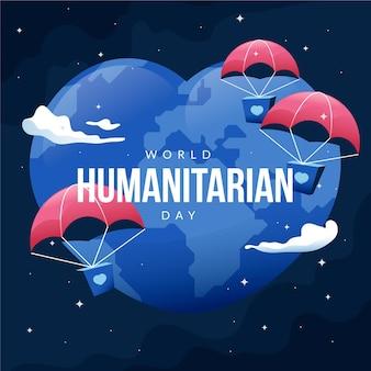 Día mundial humanitario con tierra en forma de corazón