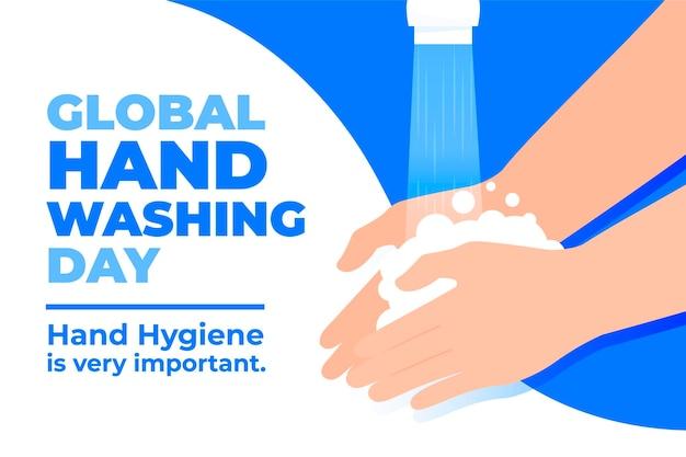 Día mundial del lavado de manos de diseño plano con manos y grifo