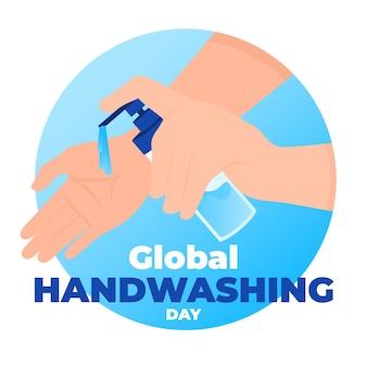 Día mundial del lavado de manos con manos y jabón