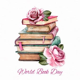 Día mundial del libro en acuarela