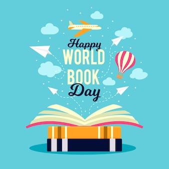 Día mundial del libro con avión