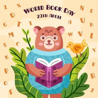 Día mundial del libro dibujado a mano