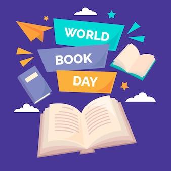 Día mundial del libro en diseño plano