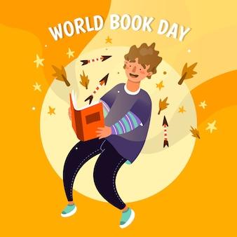 Día mundial del libro de diseño plano